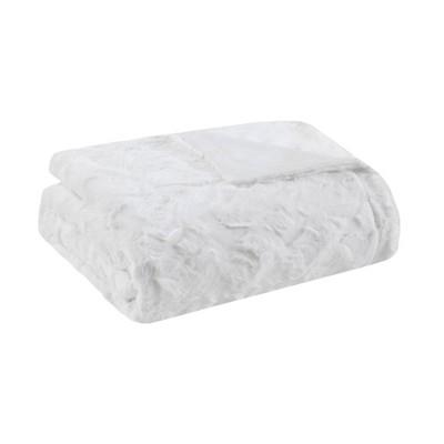 "60""x70"" Oversized Marselle Faux Fur Throw Blanket White"