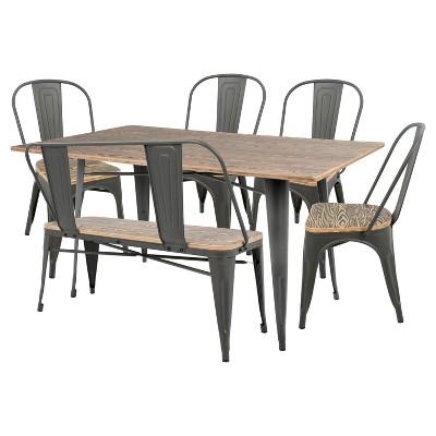 Oregon 6 Piece Industrial Farmhouse Dining Set - Grey/Brown - Lumisource
