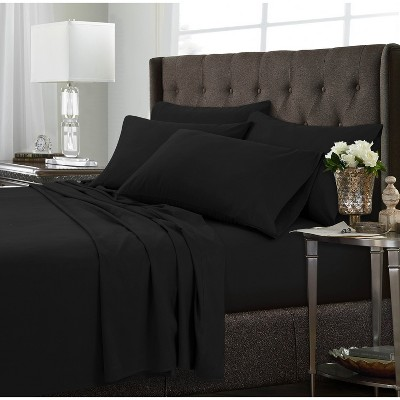 Tribeca Living 6pc Microfiber Extra Deep Pocket Sheet Set King - Black