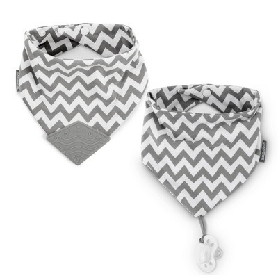BooginHead Teether and Pacigrip Bib Set - Gray Chevron 2pk