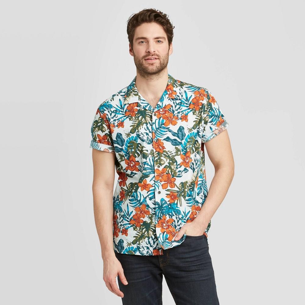 Men's Standard Fit Short Sleeve Seersucker Camp Shirt - Goodfellow & Co Orange XL was $19.99 now $12.0 (40.0% off)
