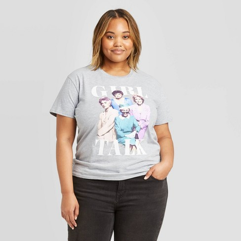 Women's The Golden Girls Girl Talk Plus Size Short Sleeve Graphic T-Shirt (Juniors') - Athletic Heather - image 1 of 2