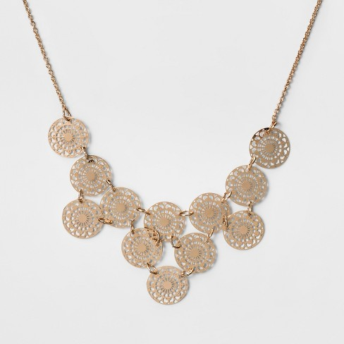 Women's Short Necklace with 12 Filigree Discs - Rose Gold ( 16') - image 1 of 3