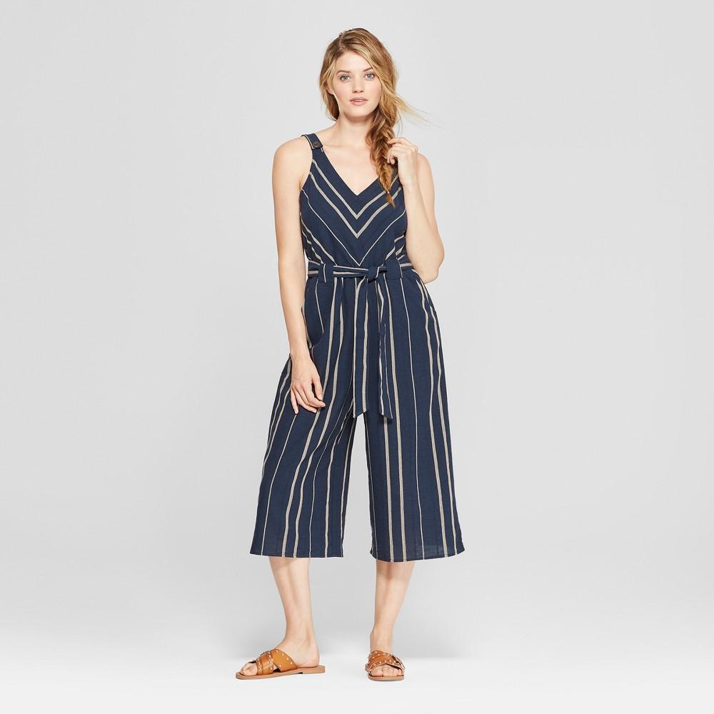 Women's Striped Wide Leg Jumpsuit - Universal Thread Navy XL, Blue