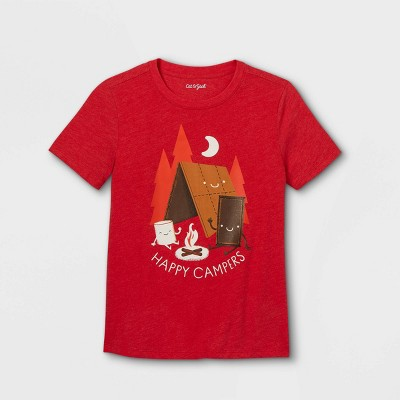 Boys' Camping Graphic Short Sleeve T-Shirt - Cat & Jack™ Bright Red