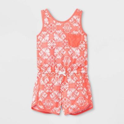 Girls' Tie-Dye Pajama Romper - Cat & Jack™ Coral