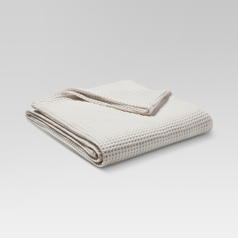 Full/Queen Waffle Weave Blanket Natural White - Threshold was $44.99 now $31.49 (30.0% off)