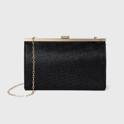 Estee & Lilly Bar Clasp Closure Shimmer Frame Clutch - Black