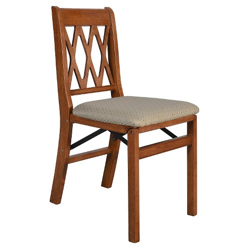 2 Piece Folding Chair with Blush Seat Cherry - Stakmore , Brown
