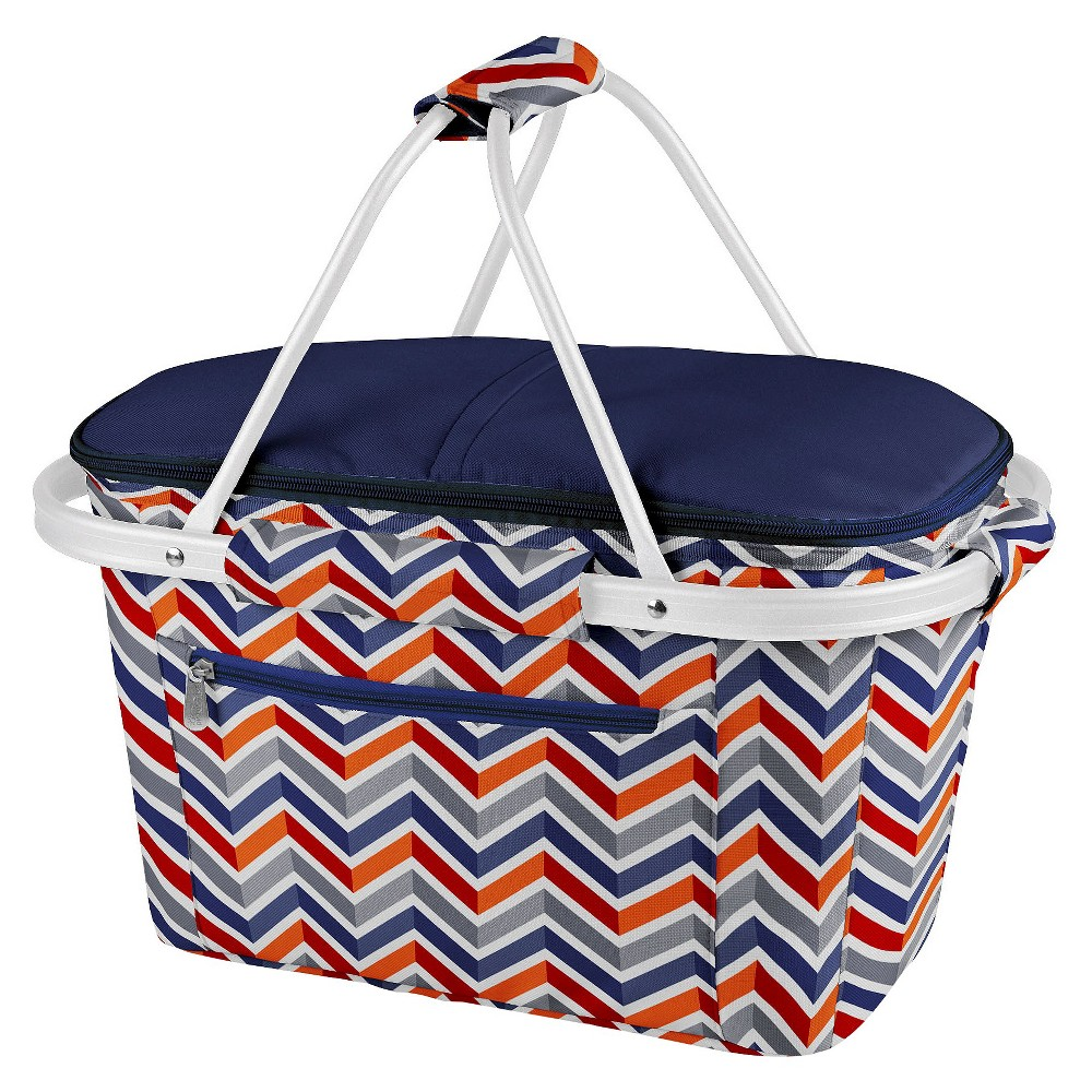 Image of Picnic Time Market Basket Collapsible Tote - Vibe Collection, Orange Blue