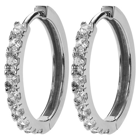 1/2 CT. T.W. Round-cut CZ Pave Set Polished Hoop Earrings in Sterling Silver - Silver (20MM) - image 1 of 2