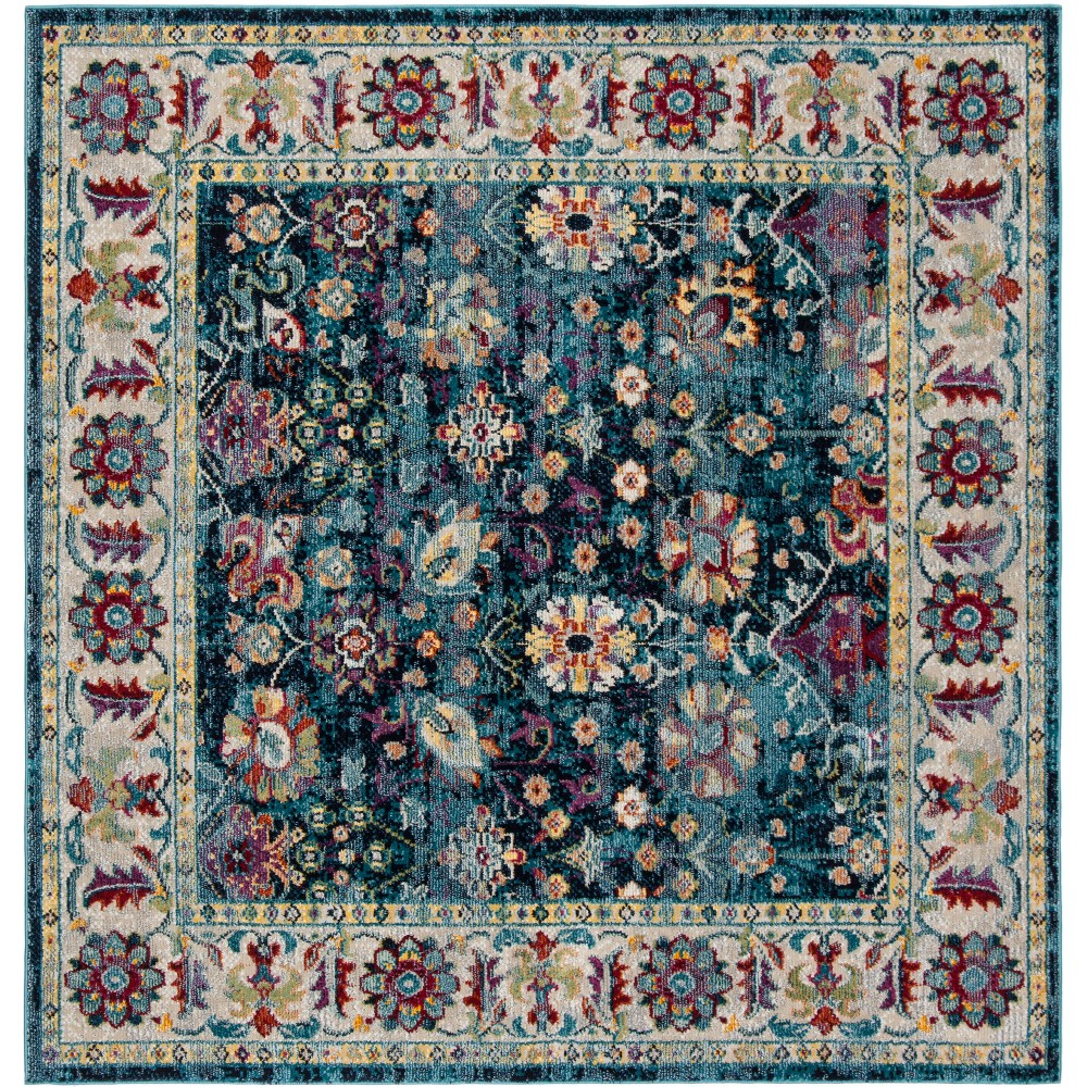 7'X7' Floral Loomed Square Area Rug Navy/Blue (Blue/Blue) - Safavieh