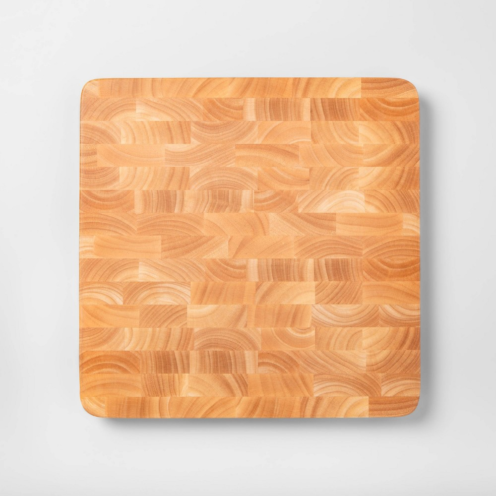 "Image of ""15""""x15"""" Nonslip End Grain Wood Chop Block Cutting Board - Made By Design"""