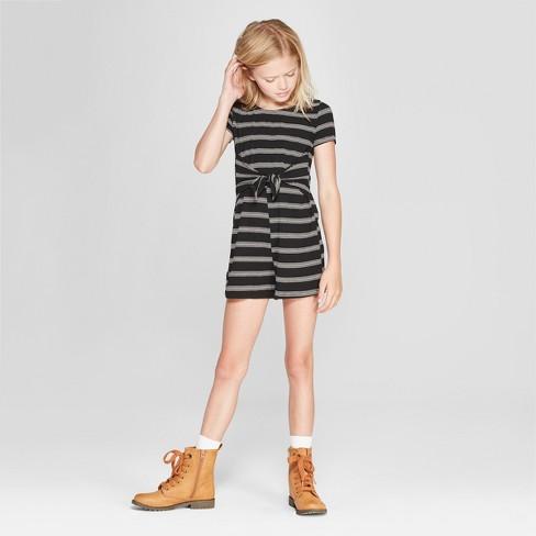 Girls' Stripe Front Tie Knit Romper - art class™ Black - image 1 of 3