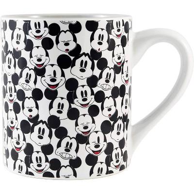 Silver Buffalo Disney Mickey Mouse Face Pattern 14oz Ceramic Coffee Mug
