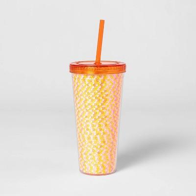 23oz Plastic Tumbler with Straw Orange - Sun Squad™