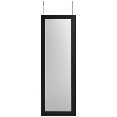 Aaliyah Black Full Length Over-the-Door/Wall Mounted Jewelry Armoire in Black - Posh Living - image 1 of 3