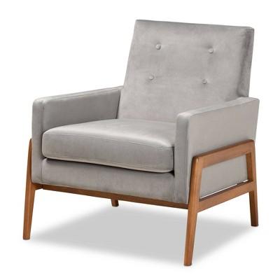 Perris Mid-Century Modern Velvet Fabric Upholstered Wood Lounge Chair - Baxton Studio