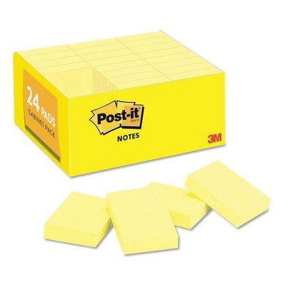 "Post-it 1 1/2"" x 2"" 24ct 100 Sheets / Pad Original Pads - Canary Yellow"