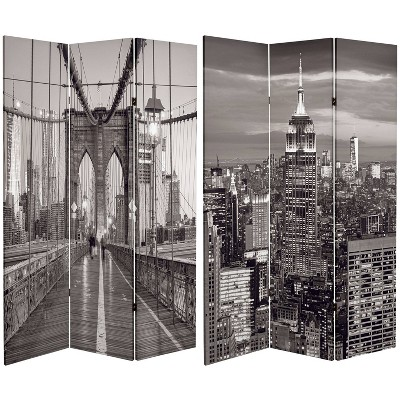 """6"""" Double Sided New York Bridge Canvas Room Divider Gray - Oriental Furniture"""