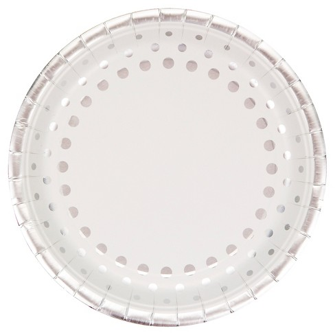 "Sparkle and Shine Silver Foil 9"" Paper Plates - 8ct - image 1 of 2"