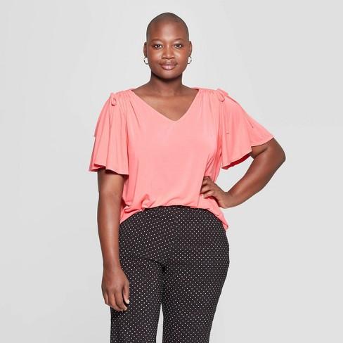 d6c4666bde2 Women s Plus Size Ruched Short Sleeve Shoulder Knit T-Shirt - Ava   Viv™  Coral