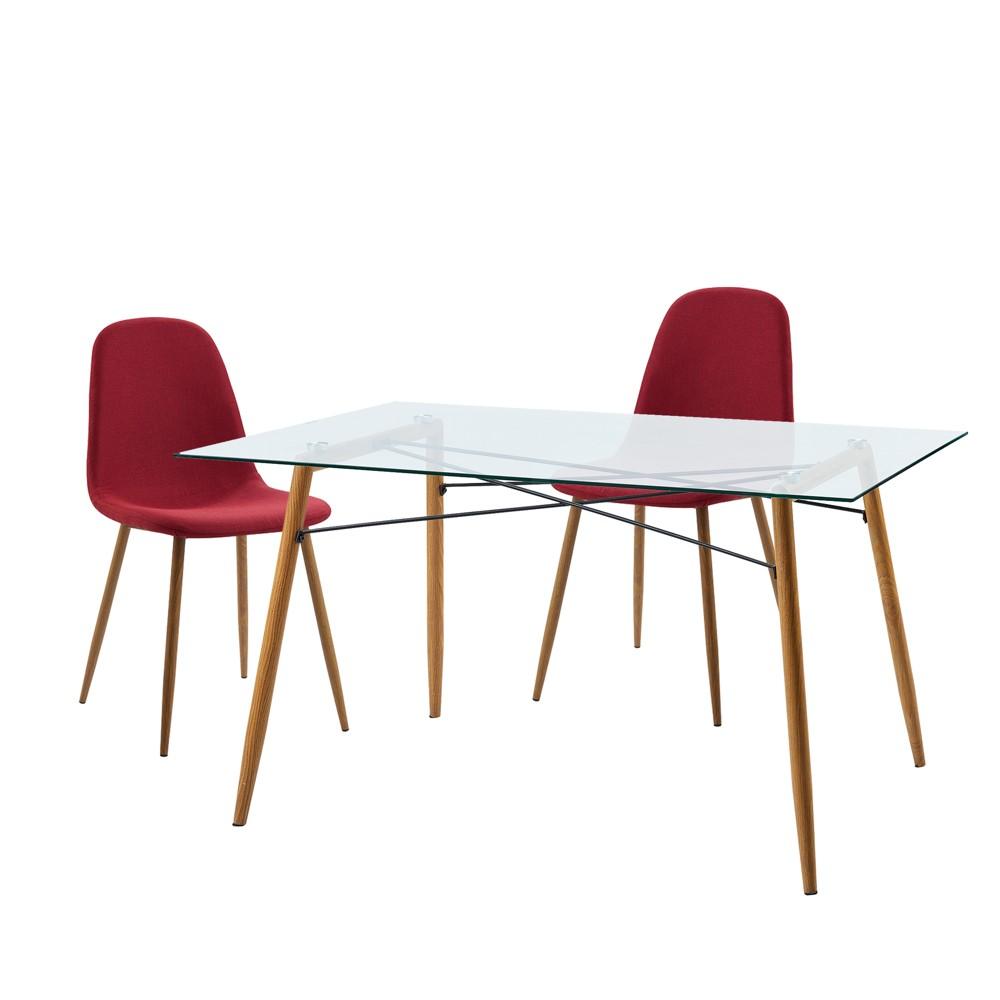Minimalista Table & Set of 2 Chairs - Deep Red - Versanora