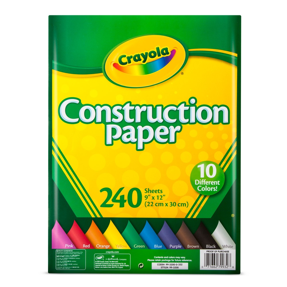 Crayola Construction Paper 9 x 12 240ct, Multi-Colored