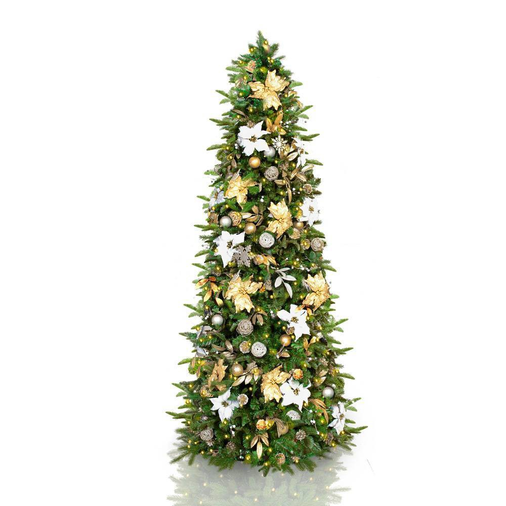 Image of 7.5ft Pre-lit and Pre-decorated LED Slim Silver & Gold Classic Artificial Christmas Tree - Easy Treezy, Green