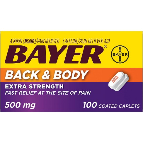 Bayer Extra Strength Back and Body Pain Reliever 500mg Caplets Tablets - Aspirin (NSAID) - 100ct - image 1 of 3