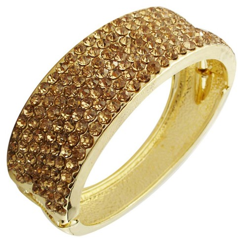 Zirconite Hinged Bangle with Crystals - Champagne Gold - image 1 of 1