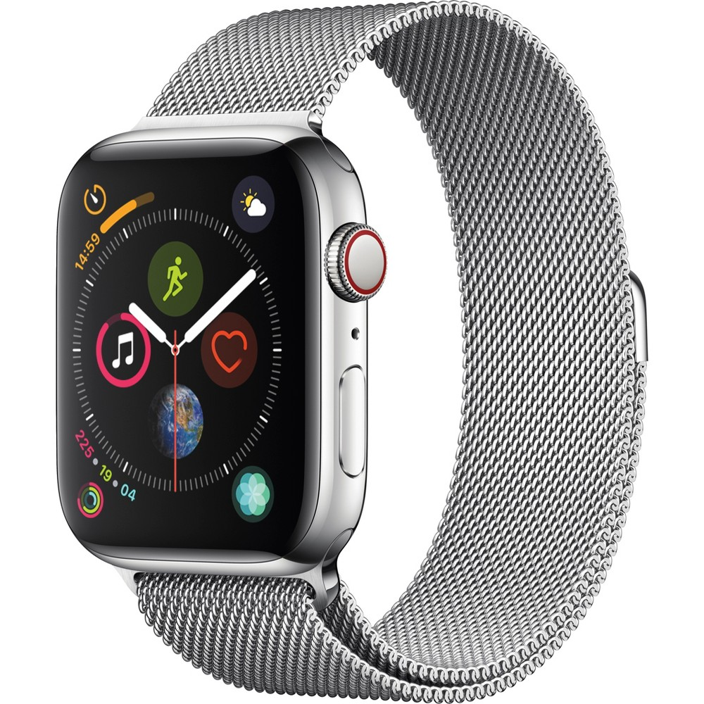 Apple Watch Series 4 Gps & Cellular 44mm Stainless Steel Case with Milanese Loop - Silver Fundamentally redesigned and reengineered. The largest Apple Watch display yet. Built-in electrical heart sensor. New Digital Crown with haptic feedback. Low and high heart rate notifications. Fall detection and Emergency Sos. New Breathe watch faces. Automatic workout detection. New yoga and hiking workouts. Advanced features for runners like cadence and pace alerts. New head-to-head competitions. Activity sharing with friends. Personalized coaching. Monthly challenges and achievement awards. Built-in cellular lets you use Walkie-Talkie, make phone calls, and send messages. Stream Apple Music and Apple Podcasts. And use Siri in all-new ways—even while you're away from your phone. With Apple Watch Series 4, you can do it all with just your watch. Selection may vary; see a sales associate for available models. Apple Watch Series 4 (Gps + Cellular) requires an iPhone 6 or later with iOS 12 or later. Wireless service plan required for cellular service. Apple Watch and iPhone service provider must be the same. Not all service providers support enterprise accounts; check with your employer and service provider. Roaming is not available outside your carrier network coverage area. Contact your service provider for more details. Apple Music requires a subscription. Compared with the previous generation. Iso standard 22810:2010. Appropriate for shallow-water activities like swimming. Submersion below shallow depth and high-velocity water activities not recommended. Color: Silver.