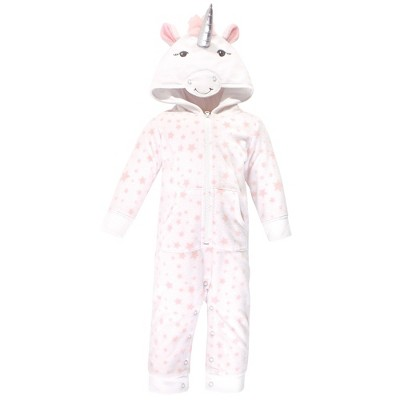 Hudson Baby Infant Girl Fleece Jumpsuits, Coveralls, and Playsuits 1pk, White Unicorn