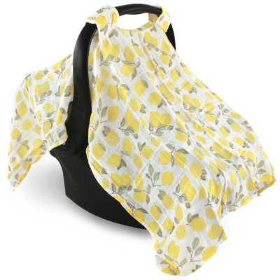 Hudson Baby Infant Girl Muslin Cotton Car Seat and Stroller Canopy, Lemons, One Size