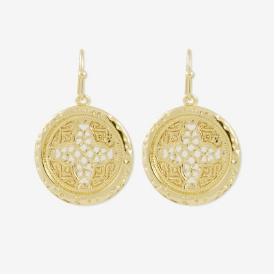 Sanctuary Project Round Rosette Medallion Coin Earrings Gold
