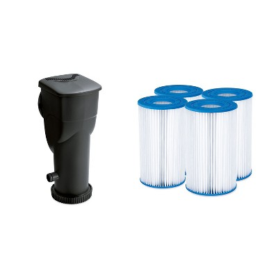 Summer Waves SkimmerPlus 1500 Gallon Above Ground Framed Pool Filter Pump Bundle with 4-Pack Replacement Type A/C Pool and Spa Filter Cartridge