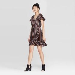 Women's Striped Short Sleeve Deep V-Neck Wrap Dress - Xhilaration™ Black
