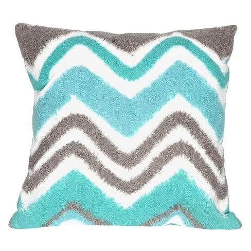 "Turquoise Zigzag Ikat Indoor/Outdoor Throw Pillow (20""x20"") - Liora Manne - image 1 of 1"