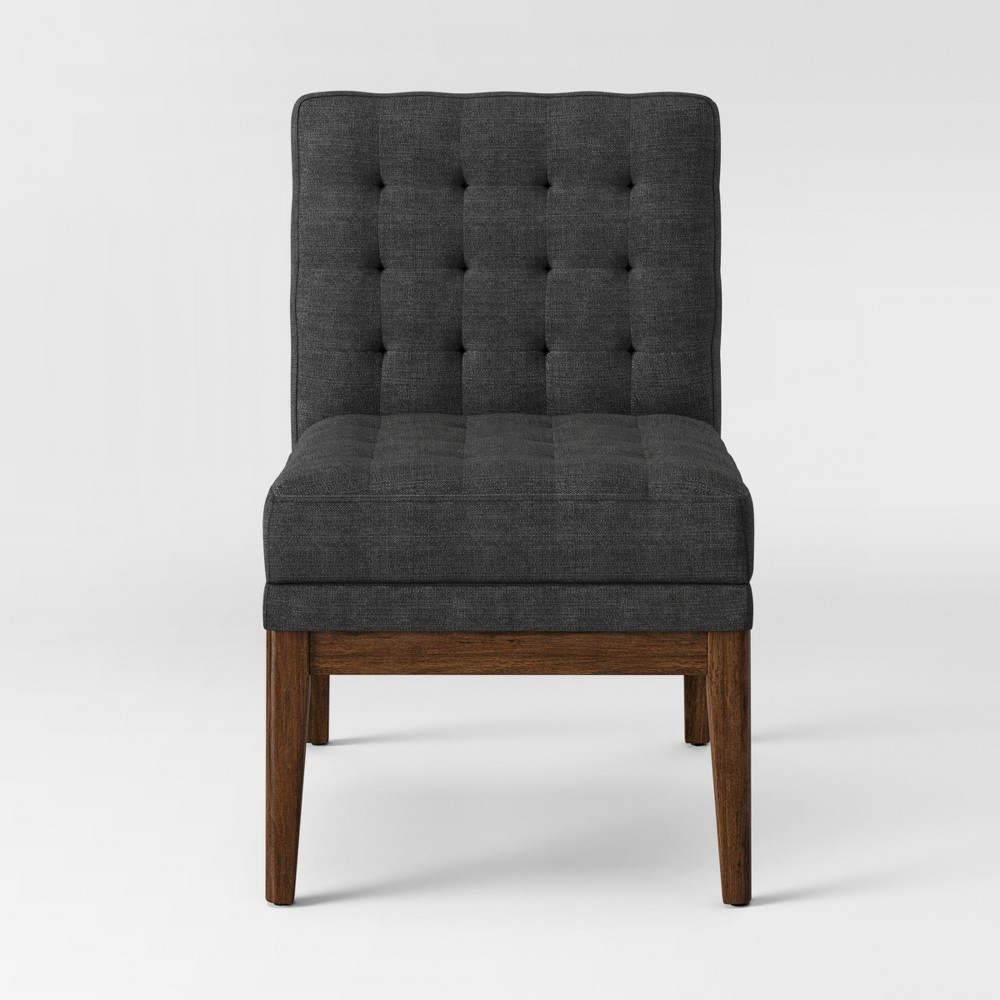 Newark Tufted Slipper Chair with Wood Base Gray - Project 62