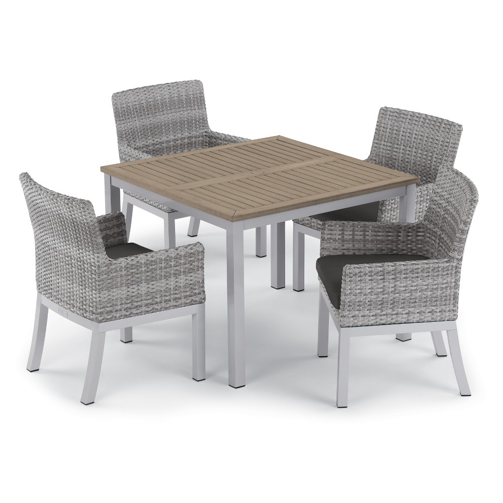 5pc Travira 39 Dining Table & Argento Armchair Set Jet Black - Oxford Garden