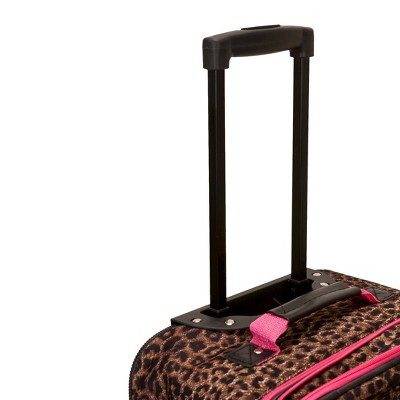 Rockland Safari 4pc Rolling Luggage Set - Pink Leopard, Brown/Pink