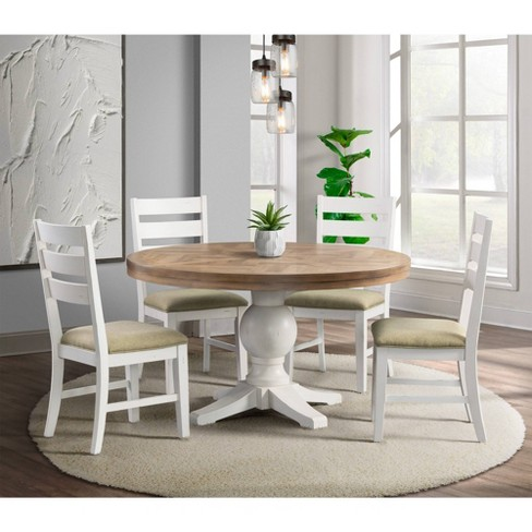 5pc Barrett Round Extendable Dining, Round Extendable Dining Table Set White