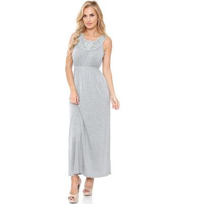 Women's Lace Neckline Katherine Maxi Dress - White Mark