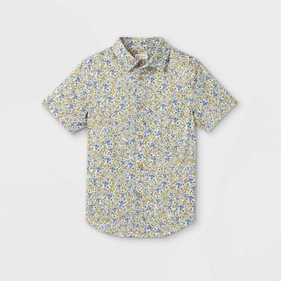 Boys' Button-Down Short Sleeve Shirt - Cat & Jack™ Blue/White