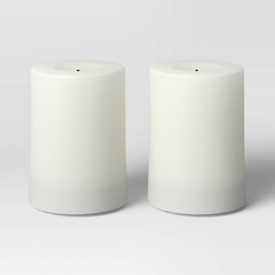 2pk Resin Outdoor Flickering Flameless LED Candles White - Room Essentials™