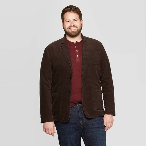 Men's Big & Tall Standard Fit Corduroy Blazer - Goodfellow & Co™ Natural Brown - image 1 of 3