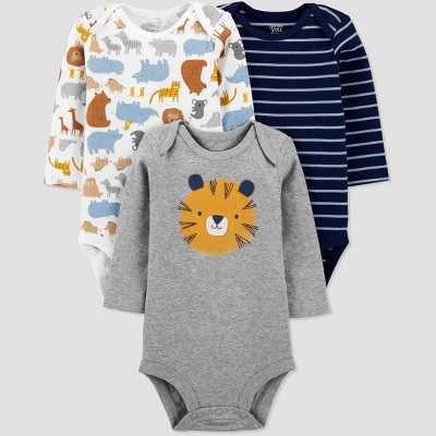 Baby Boys' 3pk Tiger Long Sleeve Bodysuit - Just One You® made by carter's Blue/Gray Newborn