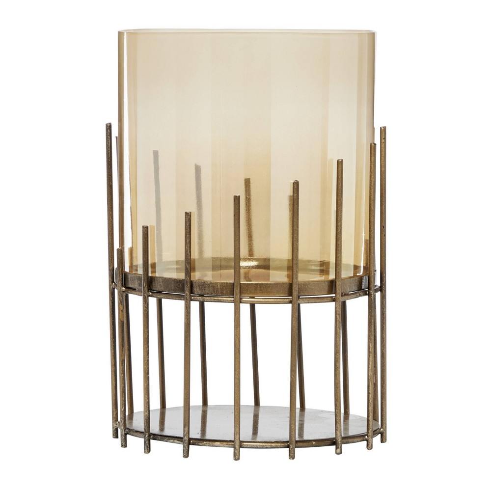 12 34 X 8 75 34 Round Glass Metal Candle Holder Gold Venus Williams Collection