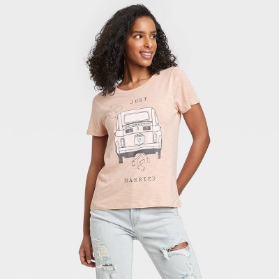 Women's Just Married Short Sleeve Graphic T-Shirt - Peach