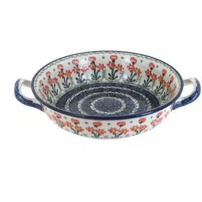Blue Rose Polish Pottery Peach Posy Small Round Casserole with Handles